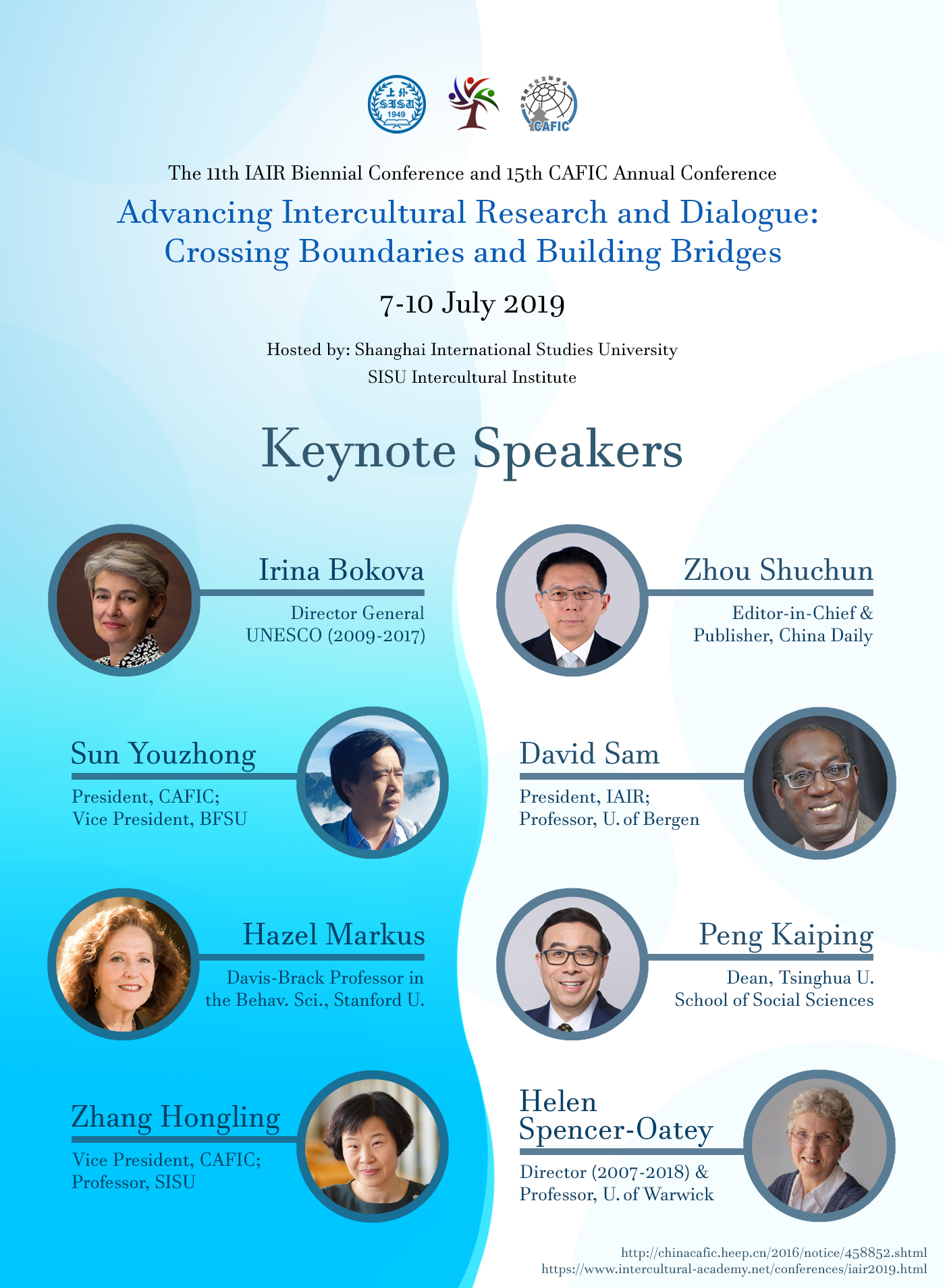 2019 IAIR CAFIC Joint Conference Keynote Speakers
